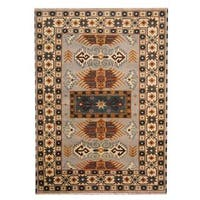 Handmade Herat Oriental Indo Tribal Kazak Wool Rug  - 5'8 x 7'10 (India)