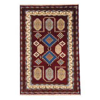 Herat Oriental Indo Hand-knotted Tribal Kazak Burgundy/ Blue Wool Rug (4' x 6')