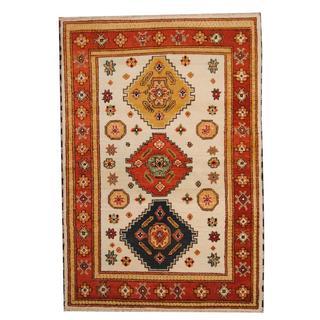 Herat Oriental Indo Hand-knotted Tribal Kazak Gray/ Navy Wool Rug (5'7 x 8'2)