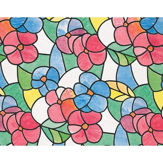 Red and Blue Stained Glass Window Film - multi-color