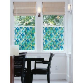 Blue and Green Stained Glass Window Film - multi-color