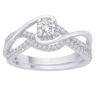14k White Gold 3/5ct TDW Diamond Bridal Ring Set (G-H, I2-I3)
