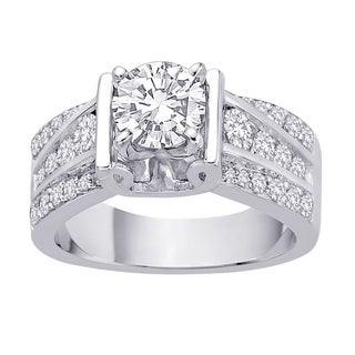 14k White Gold 4/5ct TDW Semi Mount Diamond Accent Engagement Ring with Cubic Zirconia Center Stone.