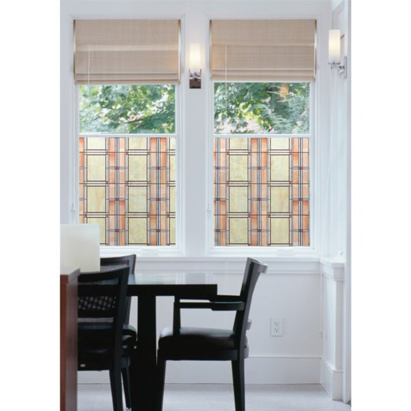Arts and Crafts Stained Glass Window Film, Model T346-0437 - Tan