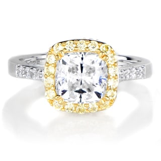Canary Halo Cushion-cut CZ Engagement Ring