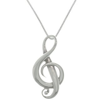 Carolina Glamour Collection Sterling Silver G-Clef Music Note Symbol Pendant