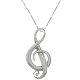 Sterling Silver G-Clef Music Note Symbol Pendant - White