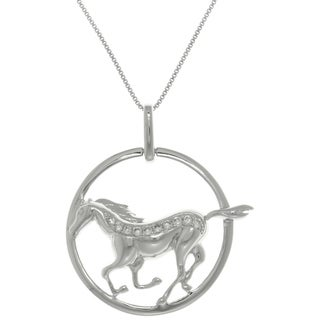Carolina Glamour Collection Sterling Silver Running Horse with CZ Crystals in Circle Pendant