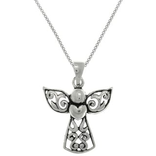 Sterling Silver Small Filigree Angel with Heart Pendant