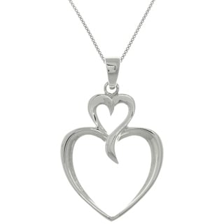 Carolina Glamour Collection Sterling Silver Two Heart Pendant Necklace