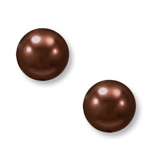 Suzy Levian 14k White Gold Round Chocolate Freshwater Pearl Stud Earrings