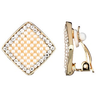 Synthetic Pearl and Rhinestone Clip-on Earrings