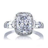 Sterling Silver Cubic Zirconia Cushion-cut Engagement Ring