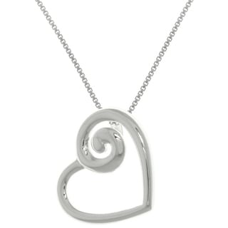 Carolina Glamour Collection Sterling Silver Petite Swirl Heart Pendant