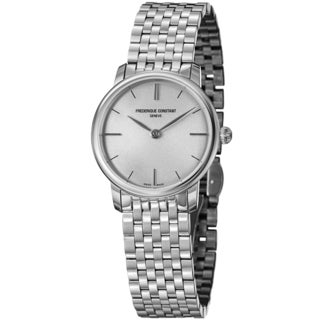Frederique Constant Women's 'Slim Line' Silver Dial Stainless Steel Swiss Quartz Watch
