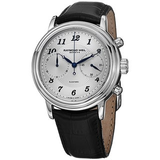 Raymond Weil Men's 4830-STC-05659 'Maestro' Silver Dial Black Leather Strap Chronograph Automatic Wa