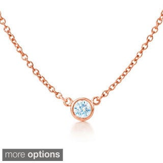Suzy Levian 14k Rose Gold 1/6ct TDW Diamond Solitaire Necklace (G-H, SI1-SI2)