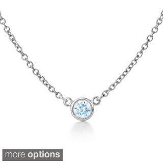 Suzy Levian 14k White Gold 1/6ct TDW Bezel Diamond Solitaire Necklace (G-H, SI1-SI2)