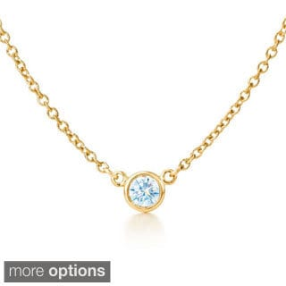 Suzy Levian 14k Yellow Gold 1/6ct TDW Bezel Diamond Solitaire Necklace (G-H, SI1-SI2)