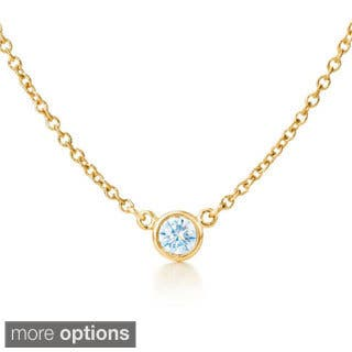 Suzy Levian 14k Yellow Gold 1/6ct TDW Bezel Diamond Solitaire Necklace|https://ak1.ostkcdn.com/images/products/9832734/P16996546.jpg?impolicy=medium