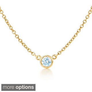 Suzy Levian 14k Yellow Gold 1/6ct TDW Bezel Diamond Solitaire Necklace