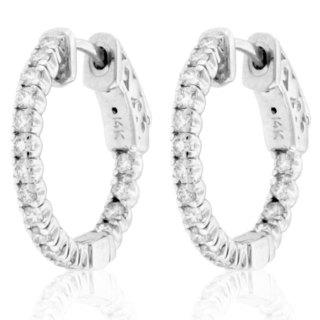 Suzy Levian 14K White Gold 3/4 ct TDW Diamond Inside-out Hoop Earrings