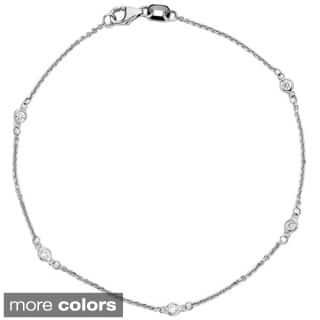 Suzy Levian 14K White / Yellow / Rose Gold 1/8ct TDW Diamond Bracelet|https://ak1.ostkcdn.com/images/products/9832737/P16996549.jpg?impolicy=medium