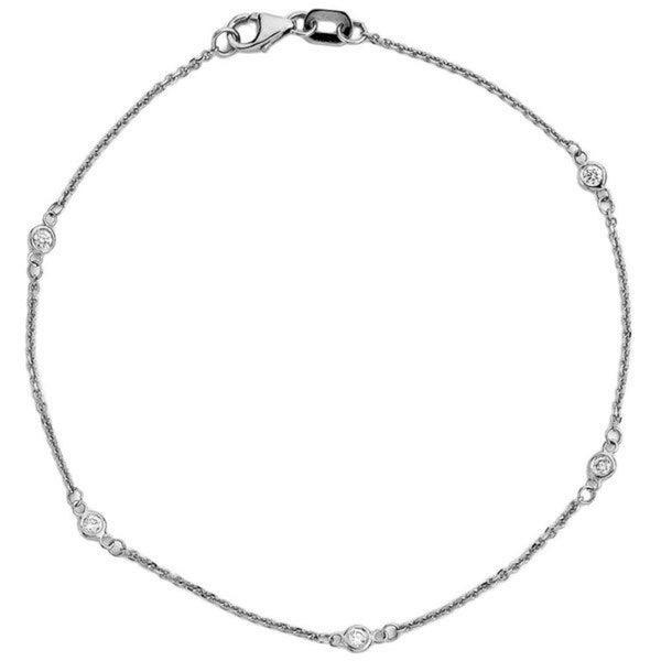Suzy Levian 14K White / Yellow / Rose Gold 1/8ct TDW Diamond Bracelet