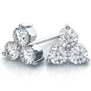 Suzy Levian 14k White Gold 3-stone Diamond Cluster 2/5ct TDW Stud Earrings (G-H, SI2-SI3)