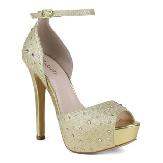 Celeste Women's Alle-05 Shining Embellishment High Heel Platform Pumps