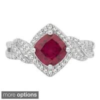 Divina Silvertone Created Ruby Diamond Accent 4-piece Jewelry Set