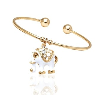 Gold-plated Goldtone and White Animal Design Charm Bangle