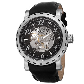Akribos XXIV Men's Automatic Movement Tachymeter Skeleton Dial Leather Silver-Tone Strap Watch