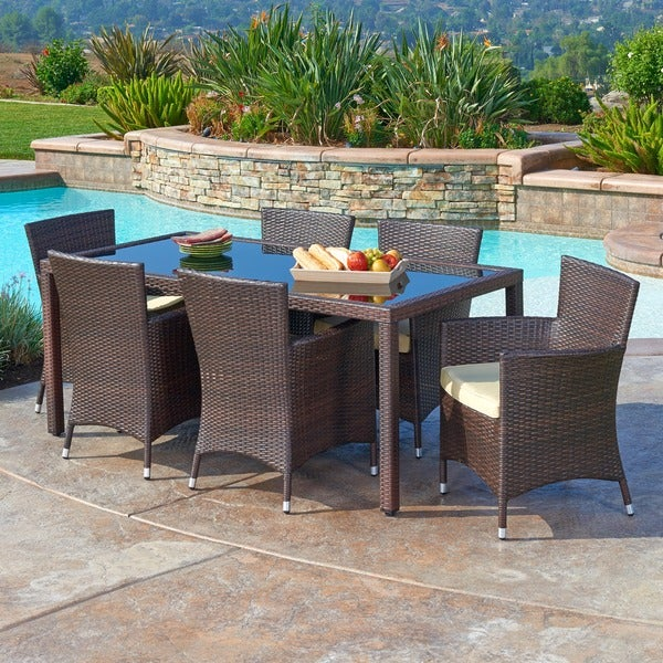 the Hom Rica 7 piece Outdoor Wicker Dining Set Free