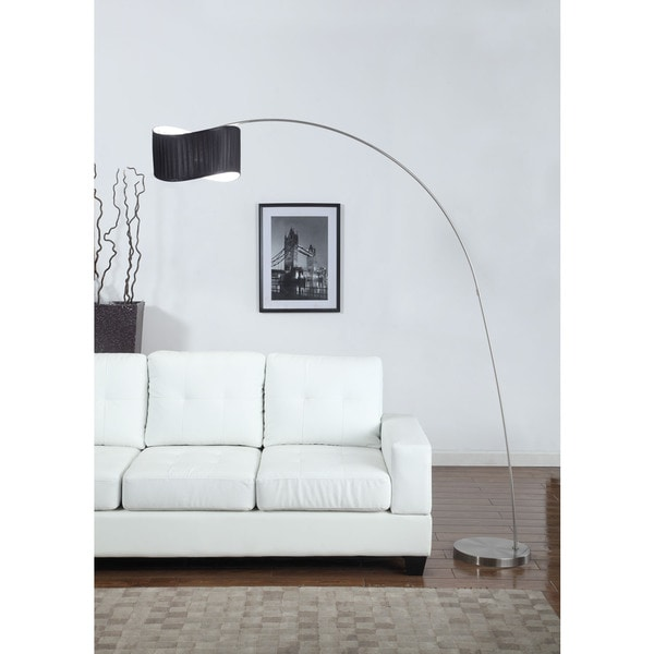 Artiva USA 'The Curve' 81-inch Black Curved Shade Brushed Steel Arch Floor Lamp