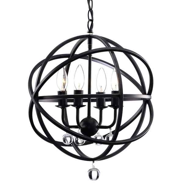 Benita Antique Black Metal Sphere 4-light Crystal Chandelier