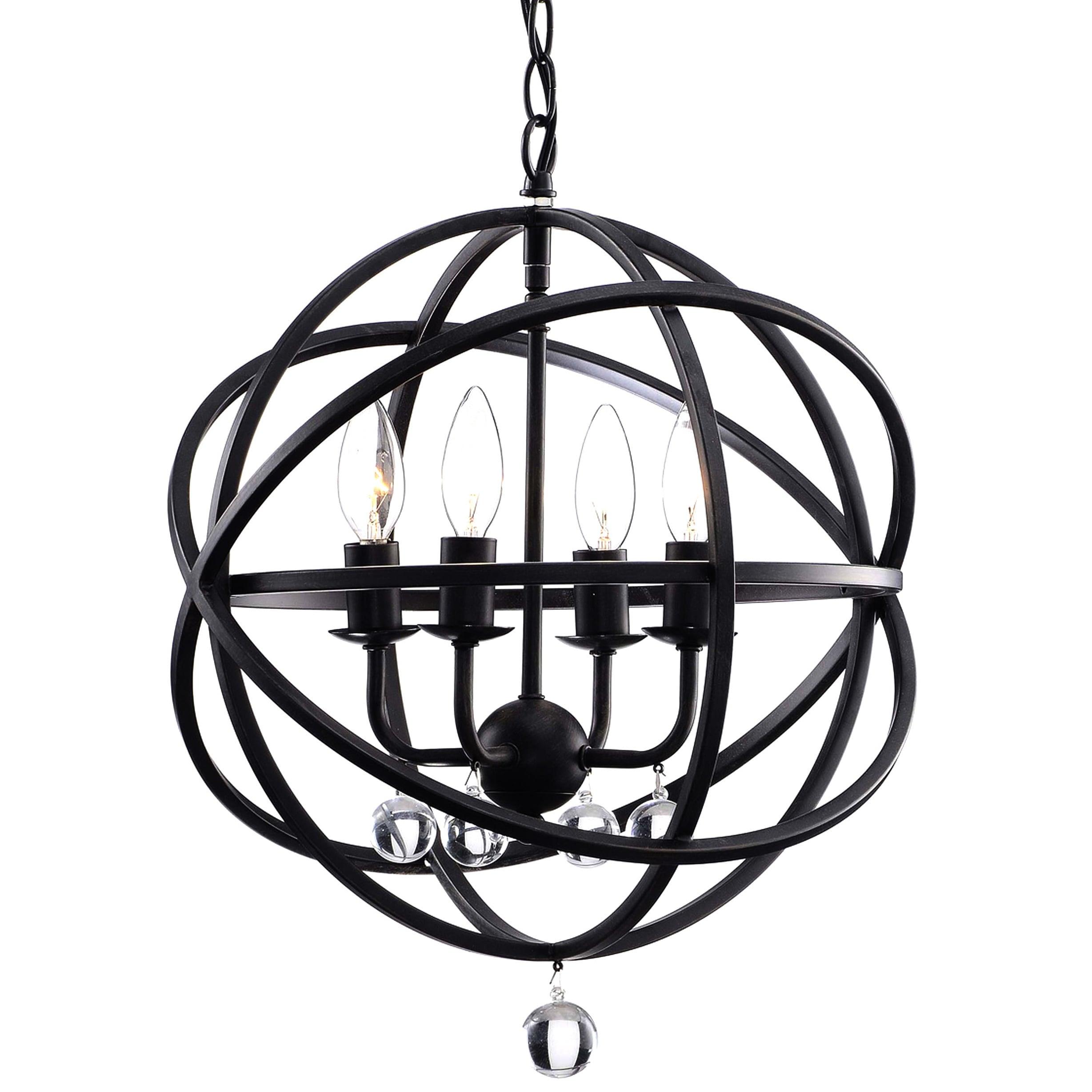 Carbon Loft Bidwell Antique Black Metal Sphere 4-light Crystal Chandelier