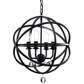 Benita Antique Black Metal Sphere 4-light Crystal Chandelier