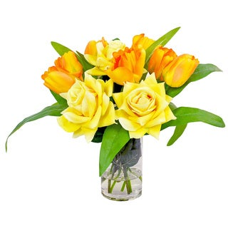Creative Displays Yellow Rose and Tulip Silk Flowers in Acrylic Water Filled Glass Vase