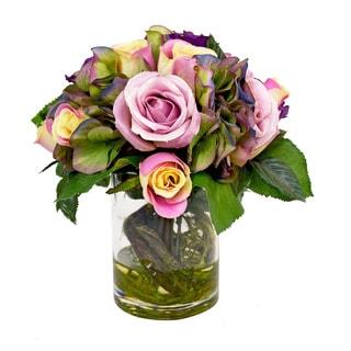 Creative Displays Kaleidoscope Hydrangea with Pink Roses Silk Flower Bouquet in Glass Vase