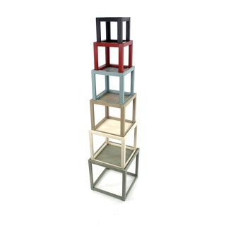 Multi-colored 6-tier Wood Shelves