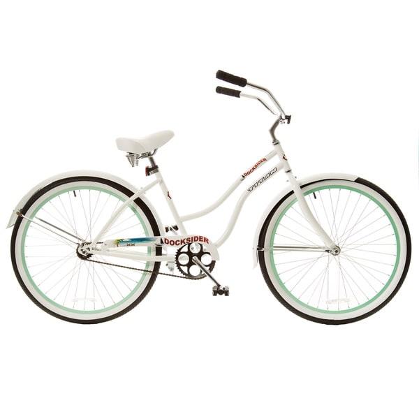 Titan Docksider White Single Speed Womens Beach Cruiser Bicycle