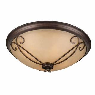 Budapest Collection Lumenno International Traditional 4-light Tea Stained Glass Bronze Flush Mount