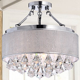 Yessica Rhinestone Silver Shade Semi-flush Mount Crystal Chandelier
