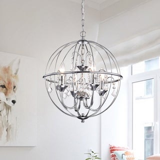 Benita Chrome Finish Metal Orb Crystal Chandelier