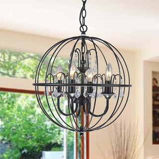 Benita Antique Black Metal Orb Crystal Chandelier
