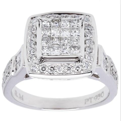 Platinum 1ct TDW Micropave Diamond Halo Estate Ring (I-J, SI1-SI2/ Size 7.25)