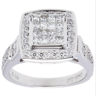Platinum 1ct TDW Micropave Diamond Halo Estate Ring (I-J, SI1-SI2/ Size 7.25)