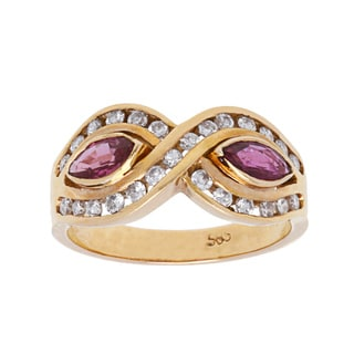 14k Yellow Gold 1/2ct TDW Diamond and Ruby Infinity Estate Ring (H-I, SI1-SI2/ Size 6.5)