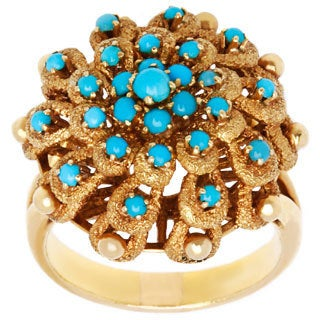 18k Yellow Gold Turquoise Dome Estate Ring (Size 8)